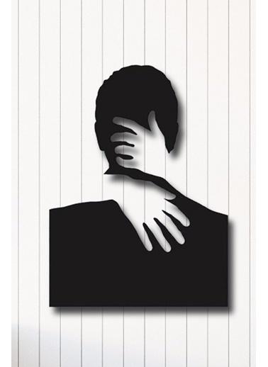 Angemiel Home Bir Kadın Bir Erkek Metal Duvar Tablosu Siyah